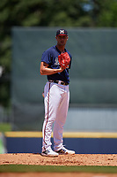 Mississippi Braves starting pitcher Kyle Muller (8) during a Southern League game against the Jacksonville Jumbo Shrimp on May 5, 2019 at Trustmark Park in Pearl, Mississippi.  Mississippi defeated Jacksonville 1-0 in ten innings.  (Mike Janes/Four Seam Images)