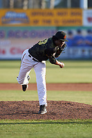 San Jose Giants relief pitcher Carlos Sano (33) during a California League game against the Visalia Rawhide on April 13, 2019 at San Jose Municipal Stadium in San Jose, California. Visalia defeated San Jose 4-2. (Zachary Lucy/Four Seam Images)