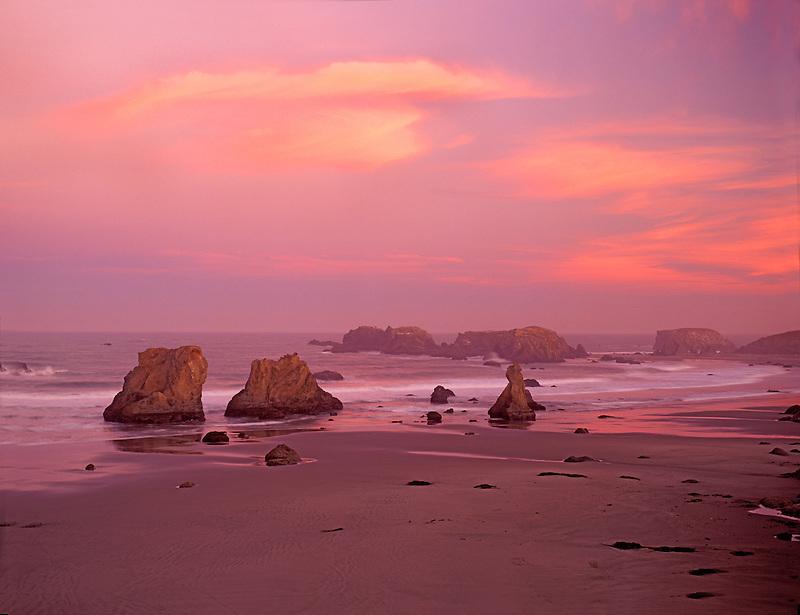 Sunrise and clouds at Bandon Beach, Oregon