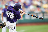 TCU Horned Frogs shortstop Keaton Jones (26) swings the bat against the LSU Tigers in Game 10 of the NCAA College World Series on June 18, 2015 at TD Ameritrade Park in Omaha, Nebraska. TCU defeated the Tigers 8-4, eliminating LSU from the tournament. (Andrew Woolley/Four Seam Images)