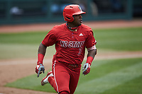 Devonte Brown (3) of the North Carolina State Wolfpack hustles down the first base line against the North Carolina Tar Heels at Boshamer Stadium on March 27, 2021 in Chapel Hill, North Carolina. (Brian Westerholt/Four Seam Images)