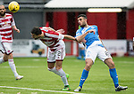 Hamilton Accies v St Johnstone…25.09.16.. New Douglas Park   SPFL<br />Dan Seaborne gets in front of Joe Gormley<br />Picture by Graeme Hart.<br />Copyright Perthshire Picture Agency<br />Tel: 01738 623350  Mobile: 07990 594431