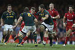 No way through for Wales outside half as the Springbok pair Duane Vermeulen and Francois Louw close the gap.<br /> <br /> 2013 Dove Men Series<br /> Wales v South Africa<br /> Millennium Stadium<br /> 09.11.13<br /> ©Steve Pope-Sportingwales