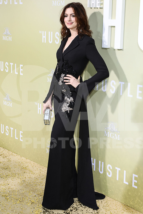 Actress Anne Hathaway wearing Elie Saab arrives at the Los Angeles Premiere Of MGM's 'The Hustle' held at ArcLight Cinerama Dome on May 8, 2019 in Hollywood, Los Angeles, California, United States.