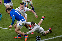 13th February 2021; Twickenham, London, England; International Rugby, Six Nations, England versus Italy; Federico Mori of Italy is tackled by Henry Slade of England along the wing