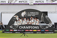 BJ Watling who announced his retirements from international cricket holds the test match mace as New Zealand win the final during India vs New Zealand, ICC World Test Championship Final Cricket at The Hampshire Bowl on 23rd June 2021