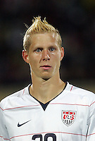 The United States' Brek Shea (20) stands for the American National Anthem before the game against Cameroon before the FIFA Under 20 World Cup Group C Match between the United States and Cameroon at the Mubarak Stadium on September 29, 2009 in Suez, Egypt.