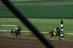 Art Collector, ridden by jockey Brian Hernandez Jr., right, breaks away from Attachment Rate, ridden by Joseph Talamo, in the final stretch of the Runhappy Ellis Park Derby's 10th race for a $200,000 purse at Ellis Park in Henderson, Ky., Sunday afternoon, Aug. 9, 2020. Art Collector won the race handily. The race is a qualifier for the upcoming Sept. 5, 2020, Kentucky Derby, with 85 points (50-20-10-5) up for grabs.