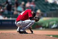 Tacoma Rainiers relief pitcher Dario Alvarez (44) during a Pacific Coast League game against the Sacramento RiverCats at Raley Field on May 15, 2018 in Sacramento, California. Tacoma defeated Sacramento 8-5. (Zachary Lucy/Four Seam Images)