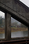 Puget Sound, Hood Canal, Hamma Hamma River, estuary, farmhouse, rain, winter, Washington State, Pacific Northwest, USA, Highway 101,