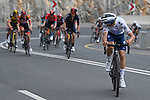 White Jersey Joao Almeida (POR) Deceuninck-Quick Step attacks from the main group as they climb Jais Mountain during Stage 5 of the 2021 UAE Tour running 170km from International Marine Club Fujairah to Jebel Jais, Fujairah, UAE. 25th February 2021. <br /> Picture: LaPresse/Fabio Ferrari   Cyclefile<br /> <br /> All photos usage must carry mandatory copyright credit (© Cyclefile   LaPresse/Fabio Ferrari)