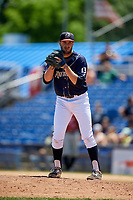 Binghamton Rumble Ponies relief pitcher Austin McGeorge (13) gets ready to deliver a pitch during a game against the Altoona Curve on June 14, 2018 at NYSEG Stadium in Binghamton, New York.  Altoona defeated Binghamton 9-2.  (Mike Janes/Four Seam Images)