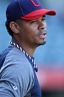 Esmil Rogers #32 of the Cleveland Indians before a game against the Los Angeles Angels at Angel Stadium on August 14, 2012 in Anaheim, California. Los Angeles defeated Cleveland 9-6. (Larry Goren/Four Seam Images)