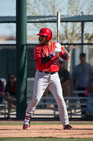 Los Angeles Angels shortstop Kevin Maitan (53) during a Minor League Spring Training game against the Chicago Cubs at Sloan Park on March 20, 2018 in Mesa, Arizona. (Zachary Lucy/Four Seam Images)