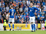 St Johnstone v Rangers…11.09.21  McDiarmid Park    SPFL<br />Reece Devine reacts after his shot is deflected wide<br />Picture by Graeme Hart.<br />Copyright Perthshire Picture Agency<br />Tel: 01738 623350  Mobile: 07990 594431