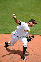 Bradenton Marauders pitcher Joan Montero #43 during a game against the Fort Myers Miracle at McKechnie Field on April 7, 2013 in Bradenton, Florida.  Fort Myers defeated Bradenton 9-8 in ten innings.  (Mike Janes/Four Seam Images)