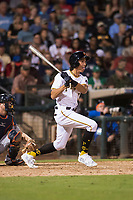 AFL West shortstop Cole Tucker (2), of the Surprise Saguaros and the Pittsburgh Pirates organization, hits a single during the Fall Stars game at Surprise Stadium on November 3, 2018 in Surprise, Arizona. The AFL West defeated the AFL East 7-6 . (Zachary Lucy/Four Seam Images)