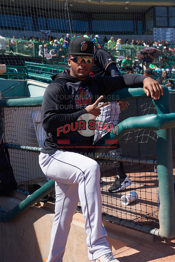 Modesto Nuts right fielder Anthony Jimenez (5) before a California League game against the Inland Empire 66ers on April 10, 2019 at San Manuel Stadium in San Bernardino, California. Inland Empire defeated Modesto 5-4 in 13 innings. (Zachary Lucy/Four Seam Images)
