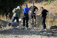 Pictured: Forensic archaeologists work at the second site in Kos, Greece. Tuesday 11 October 2016<br />Re: Police teams led by South Yorkshire Police are searching for missing toddler Ben Needham on the Greek island of Kos.<br />Ben, from Sheffield, was 21 months old when he disappeared on 24 July 1991 during a family holiday.<br />Digging has begun at a new site after a fresh line of inquiry suggested he could have been crushed by a digger.