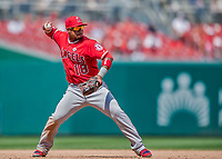 16 August 2017: Los Angeles Angels infielder Luis Valbuena in action against the Washington Nationals at Nationals Park in Washington, DC. The Angels defeated the Nationals 3-2 to split their 2-game series. Mandatory Credit: Ed Wolfstein Photo *** RAW (NEF) Image File Available ***