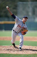 Detroit Tigers pitcher Gio Arriera (57) delivers a pitch during a Florida Instructional League game against the Pittsburgh Pirates on October 2, 2018 at the Pirate City in Bradenton, Florida.  (Mike Janes/Four Seam Images)