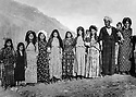 Iraq 1966<br /> Abdul Wahab Rowanduzi in Halgurd surrounded by his 2 wives, 3rd from right, Douria Aref, his Iranian wife.  <br /> Irak 1966 Abdul Wahab Rowanduzi a  Halgurd entouré de ses 2 femmes , 3eme a droite Douria Aref, sa femme iranienne.