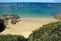 Sailboats near the beach at Saint-Lunaire, Brittany, France.