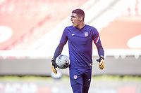 ZAPOPAN, MEXICO - MARCH 21: David Ochoa #20 of the United States warming up during a game between Dominican Republic and USMNT U-23 at Estadio Akron on March 21, 2021 in Zapopan, Mexico.
