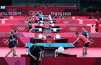 19th July 2021, TOKYO, JAPAN:  Table tennis players of Chinas Hong Kong attend a training session ahead of the Tokyo 2020 Olympic Games