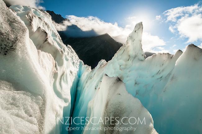 Ice pinnacle and crevasses on Franz Josef Glacier, Westland National Park, West Coast, World Heritage, South Island, New Zealand