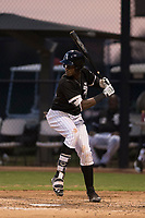 AZL White Sox center fielder Luis Mieses (21) at bat during an Arizona League game against the AZL Athletics at Camelback Ranch on July 15, 2018 in Glendale, Arizona. The AZL White Sox defeated the AZL Athletics 2-1. (Zachary Lucy/Four Seam Images)