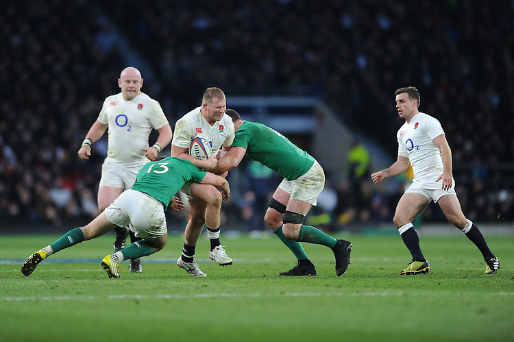 Dylan Hartley, FEBRUARY 27, 2016 - Rugby : Dylan Hartley of England is tackled by Robbie Henshaw and Donnacha Ryan of Ireland during the RBS 6 Nations match between England and Ireland at Twickenham Stadium, London, United Kingdom. (Photo by Rob Munro)