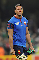 Thierry Dusautoir of France looks dejected after losing Match 39 of the Rugby World Cup 2015 between France and Ireland - 11/10/2015 - Millennium Stadium, Cardiff<br /> Mandatory Credit: Rob Munro/Stewart Communications
