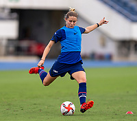 TOKYO, JAPAN - JULY 20: Abby Dahlkemper #17 of the USWNT crosses the ball during a training session at the practice fields on July 20, 2021 in Tokyo, Japan.