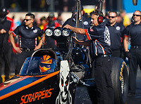 Jul 28, 2017; Sonoma, CA, USA; Doug Koch , crew chief for NHRA top fuel driver Mike Salinas during qualifying for the Sonoma Nationals at Sonoma Raceway. Mandatory Credit: Mark J. Rebilas-USA TODAY Sports