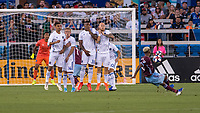 SAN JOSÉ CA - JULY 27: San Jose Earthquakes wall during free kick taken by Kellyn Acosta #10 a Major League Soccer (MLS) match between the San Jose Earthquakes and the Colorado Rapids on July 27, 2019 at Avaya Stadium in San José, California.