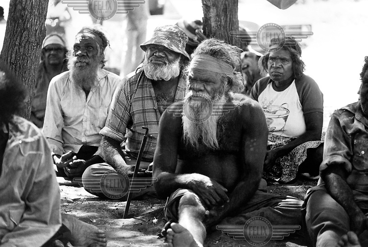 Land rights meeting. Aborigines from all over Central Australia gathered to protest and protect their land from mining/mineral development. They succeeded for the time being.