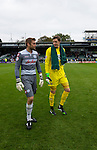 Yeovil Town 0 Queens Park Rangers 1, 21/09/2013. Huish Park, Championship. Rob Green and Wayne Hennessey leave the pitch. Photo by Paul Thompson.