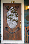 Wooden Front Door of Blue House