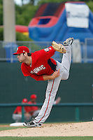 Potomac Nationals pitcher Lucas Giolito (23) follows through on his delivery against the Myrtle Beach Pelicans at Ticketreturn.com Field at Pelicans Ballpark on May 25, 2015 in Myrtle Beach, South Carolina.  Myrtle Beach defeated Potomac 3-0. (Robert Gurganus/Four Seam Images)