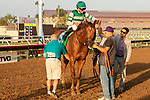 """DEL MAR, CA  AUGUST 18: #5 Accelerate, ridden by Joel Rosario, return to the connections after winning the $1 Million TVG Pacific Classic (Grade l) """"Win and You're in Classic Division"""" on August 18, 2018 at Del Mar Thoroughbred Club in Del Mar, CA. (Photo by Casey Phillips/Eclipse Sportswire/Getty Images"""