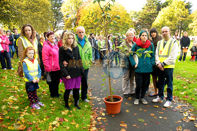 Friends and family of Jill Meagher dedicate a tree to her memory at a ceremony in Dominic's Park on Sunday. Photo: NEWSFILE www.newsfile.ie www.newsfile.ie