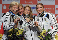 European Championships Fencing 2010 / Fecht Europameisterschaft 2010 in Leipzig - Competition Championat d'europe - im Bild: 3rd place for the German Team in womens foil competition - Katja Wächter, Martina Zacke, Carolin Golubitskyi and Sandra Bingenheimer (left to right)  . Foto: Norman Rembarz..Norman Rembarz , Autorennummer 41043728 , Augustenstr. 2, 04317 Leipzig, Tel.: 01794887569, Hypovereinsbank: BLZ: 86020086, KN: 357889472, St.Nr.: 231/261/06432 - Jegliche kommerzielle Nutzung ist honorar- und mehrwertsteuerpflichtig! Persönlichkeitsrechte sind zu wahren. Es wird keine Haftung übernommen bei Verletzung von Rechten Dritter. Autoren-Nennung gem. §13 UrhGes. wird verlangt. Weitergabe an Dritte nur nach  vorheriger Absprache..