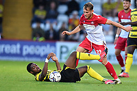 Marc Navarro of Watford FC and Charlie Carter of Stevenage FC during Stevenage vs Watford, Friendly Match Football at the Lamex Stadium on 27th July 2021