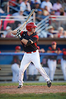 Batavia Muckdogs catcher David Gauntt (7) at bat during a game against the Auburn Doubledays on June 19, 2017 at Dwyer Stadium in Batavia, New York.  Batavia defeated Auburn 8-2 in both teams opening game of the season.  (Mike Janes/Four Seam Images)