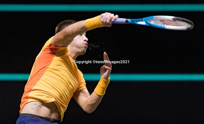 Rotterdam, The Netherlands, 6 march  2021, ABNAMRO World Tennis Tournament, Ahoy,  <br /> Semi final: Borna Coric (CRO). Photo: www.tennisimages.com/