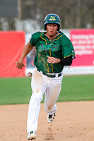 Beloit Snappers third baseman Edwin Diaz (12) races to third during a Midwest League game against the Peoria Chiefs on April 15, 2017 at Pohlman Field in Beloit, Wisconsin.  Beloit defeated Peoria 12-0. (Brad Krause/Four Seam Images)