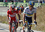 Alberto Contador (w) and Joaquin Purito Rodriguez during the stage of La Vuelta 2012 between Gijon and Valgrande-Pajares (Cuitu Negru).September 3,2012. (ALTERPHOTOS/Paola Otero)