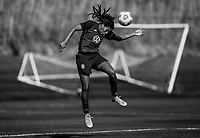COMMERCE CITY, CO - OCTOBER 25: Mia Fishel of the USWNT heads the ball at Dick's Sporting Goods training fields on October 25, 2020 in Commerce City, Colorado.