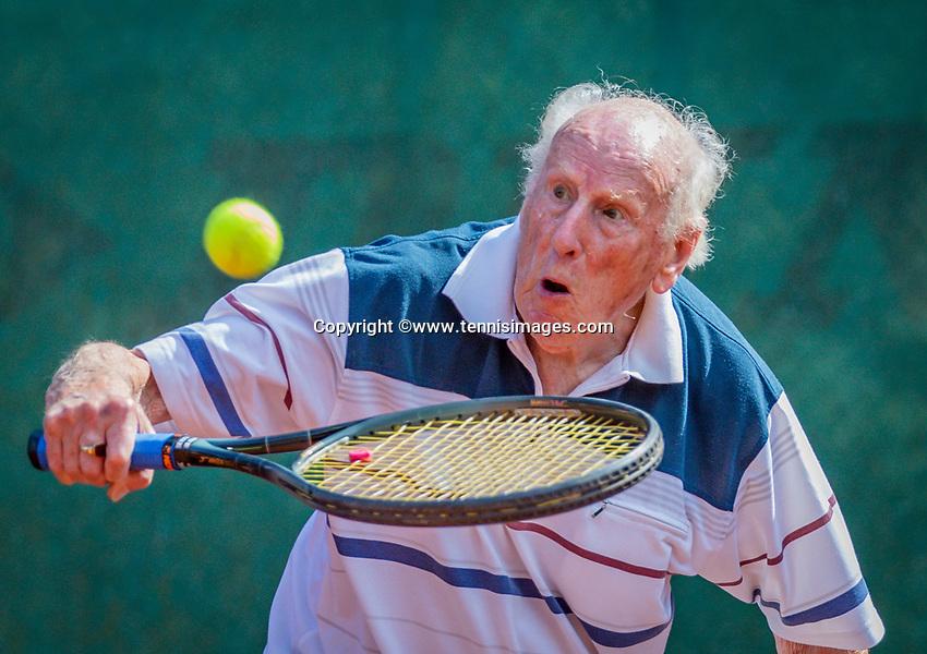 Hilversum, The Netherlands,  August 18, 2020,  Tulip Tennis Center, NKS, National Senior Championships, Men's single 85+ , Roel Lubberts (NED) <br /> Photo: www.tennisimages.com/Henk Koster